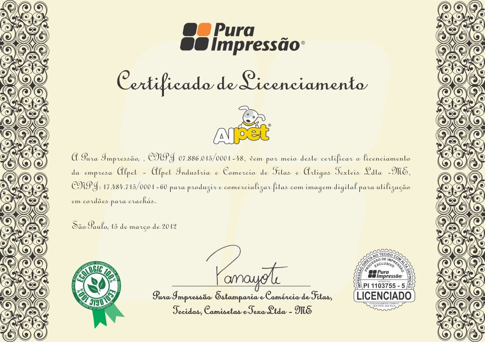 certificado alpet